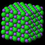 Kristalstructuur van keukenzout, NaCl.