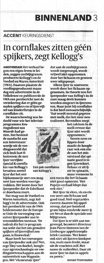 Artikel in Volkskrant
