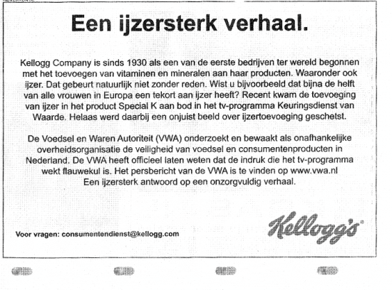 Kellogg's advertentie in Volkskrant